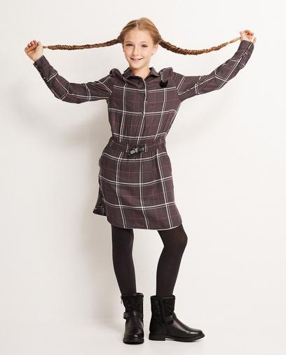 Donkergrijze geruite jurk